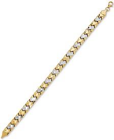 Two-Tone Crossbar Link Bracelet in 10k Gold & Rhodium-Plate