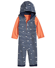 First Impressions Baby Boys 2-Pc. T-Shirt & Hooded Eyes-Print Overall Set, Created for Macy's