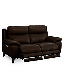 "Milany 69"" Leather Power Reclining Loveseat with Power Headrest and USB Power Outlet, Created for Macy's"
