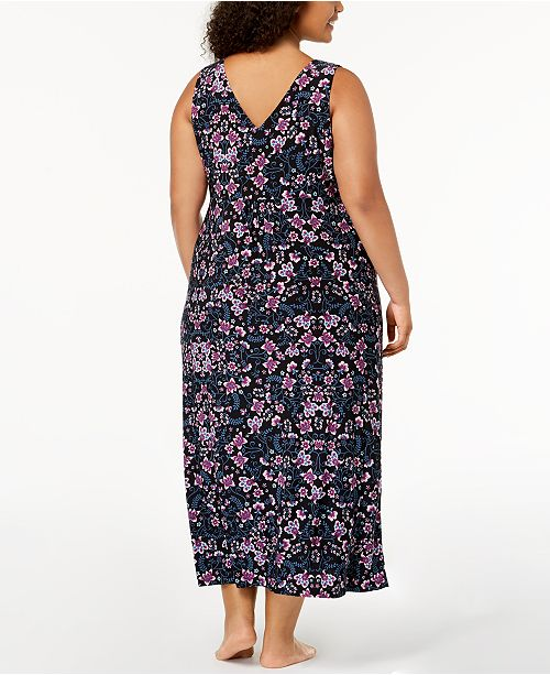 Neck Stem N Nightgown International V I Scrolled Macy's Floral Concepts C Print INC for Size Plus Created vatpqqgw