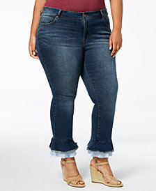 WILLIAMS RAST Plus Size Skinny Flared-Hem Ankle Jeans