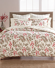 Martha Stewart Collection Bayberry Cotton Flannel Full/Queen Duvet Cover, Created for Macy's