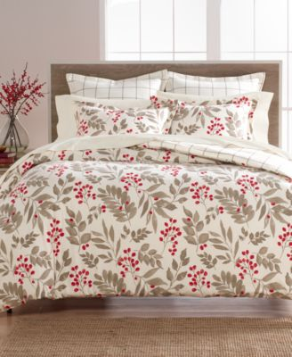 Martha Stewart Collection Winter Plaid Cotton Reversible Bedding Collection  ...