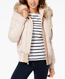 Vince Camuto Faux-Fur-Trim Hooded Bomber Coat