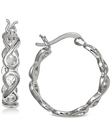 "Giani Bernini Small Decorative Hoop Earrings in Sterling Silver, 0.8"", Created for Macy's"