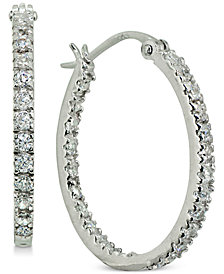"Giani Bernini Small Cubic Zirconia In & Out Oval Hoop Earrings in 18k Gold-Plated Sterling Silver, 0.6"", Created for Macy's"