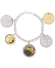 Giani Bernini Two-Tone Coin Charm Bracelet in Sterling Silver & 18k Gold-Plate, Created for Macy's