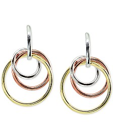 Giani Bernini Tricolor Interlocking Circle Drop Earrings in Sterling Silver, 18k Gold-Plate & 18K Rose Gold-Plate, Created for Macy's