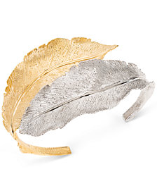 Giani Bernini Two-Tone Leaf Cuff Bracelet in Sterling Silver & 18k Gold-Plate, Created for Macy's
