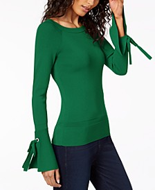 INC Boat-Neck Tie-Sleeve Top, Created for Macy's