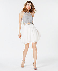 Speechless Juniors' Rhinestone Cutout Fit & Flare Dress