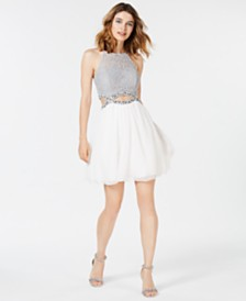 Speechless Juniors' Rhinestone Cutout Fit & Flare Dress, Created for Macy's