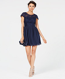 Speechless Juniors' Sparkle Lace-Contrast Dress, Created for Macy's