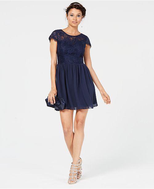 39a1198322766d ... Speechless Juniors  Sparkle Lace-Contrast Dress