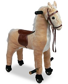 "Trademark Global Happy Trails Plush Walking Horse with Wheels & Foot Rests , 28.5"" x 12"" x 23"""
