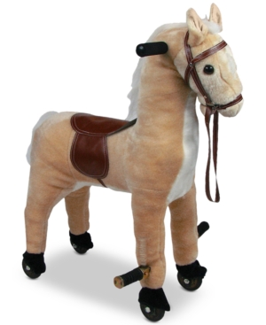 Trademark Global Happy Trails Plush Walking Horse with Wheels  Foot Rests