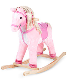 Trademark Global Happy Trails Pink Patty the Rocking Pony with Cotton Mane & Tail