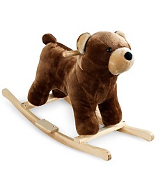 "Trademark Global Happy Trails Barry Bear Plush Rocking Animal with Sounds, 19.375"" x 28.5"" x 13.625"""