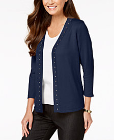 JM Collection Studded Cardigan, Created for Macy's