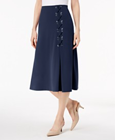 JM Collection Petite Grommet Lace-Up Skirt, Created for Macy's