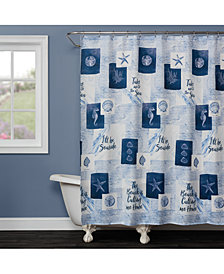 "Saturday Knight Seaside Sentiments 70"" x 72"" Shower Curtain"