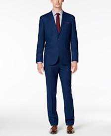 Kenneth Cole Reaction Men's Slim-Fit Techni-Cole Stretch Blue Tonal Grid Suit