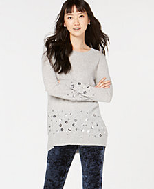 Charter Club Sequin-Embellished Pure Cashmere Sweater, Created for Macy's