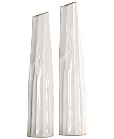 Kenley Crackled White Vases, Set of 2