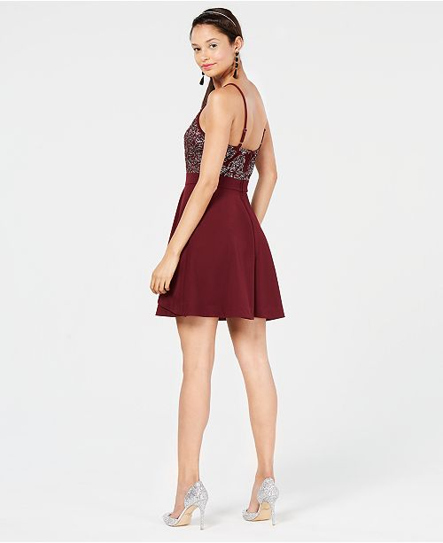 39668a95c Speechless Juniors' Embellished Fit & Flare Dress & Reviews ...