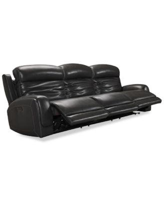 "Winterton 113"" 3-Pc. Leather Power Reclining Sofa With 3 Power Recliners, Power Headrests, Lumbar & USB Power Outlet"