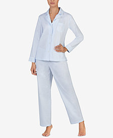 Lauren Ralph Lauren Woven Solid Cotton Pajama Set