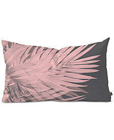 Deny Designs Emanuela Carratoni Blush Palm Leaves Oblong Throw Pillow