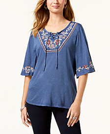 Style & Co Embroidered Short-Sleeve Peasant Top, Created for Macy's