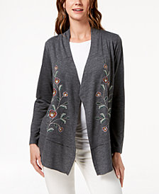 Style & Co Petite Embroidered Cardigan, Created for Macy's
