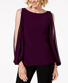 MSK Petite Rhinestone-Trim Split-Sleeve Top