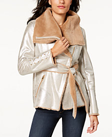 GUESS Metallic Faux-Fur Coat