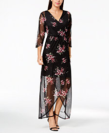 Connected Petite Floral-Print Wrap Maxi Dress
