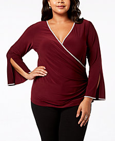 MSK Plus Size Rhinestone-Trim Surplice Top