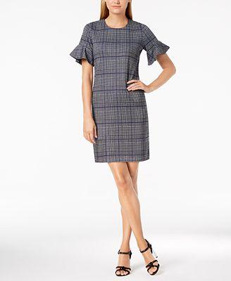 Calvin Klein Menswear Plaid Bell Sleeve Dress Dresses Women Macy S