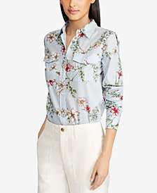 Lauren Ralph Lauren Petite Floral-Print Cotton Shirt