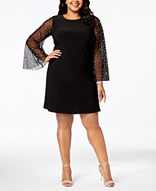 MSK Plus Size Embellished Mesh-Sleeve Dress