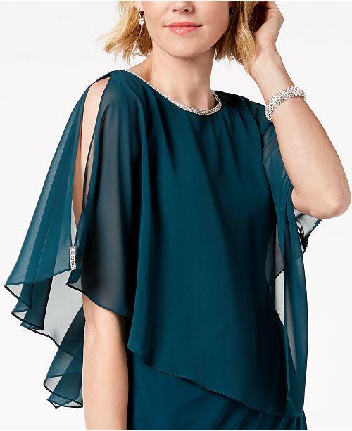 Msk Rhinestone Trim Chiffon Popover Dress Dresses
