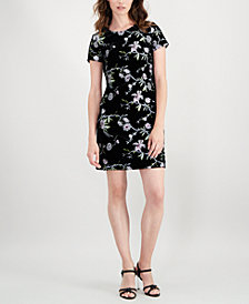 Calvin Klein Embroidered Velvet Sheath Dress