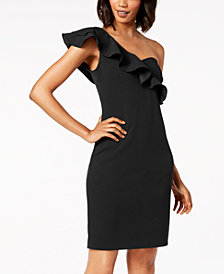 Calvin Klein Ruffled One-Shoulder Sweetheart Dress