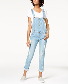 Tinseltown Juniors' Ripped Skinny Overalls