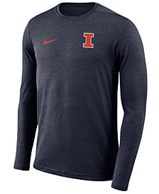 Nike Men's Illinois Fighting Illini Long Sleeve Dri-Fit Coaches T-Shirt