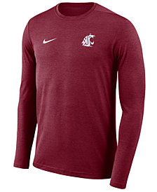 Nike Men's Washington State Cougars Long Sleeve Dri-Fit Coaches T-Shirt
