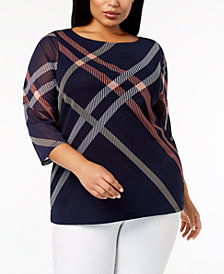 Charter Club Plus Size Printed Sheer-Sleeve Top, Created for Macy's