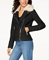 GUESS Faux-Fur-Collar Faux-Leather Moto Jacket da70e9711cfc