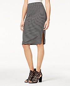 BCX Juniors' Striped Side-Slit Skirt